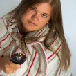 Woman with red wine glass — Stock Photo