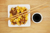 Egg fried rice and soy sauce — Stock Photo