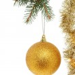 Gold ball and tinsel — Stock Photo #14262315
