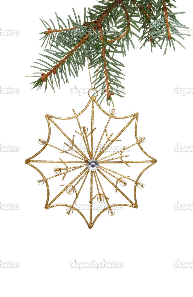 Gold Christmas star decoration hanging from a Christmas tree branch — Stock Photo #14268985