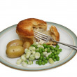 Chicken pie and vegetables — Stock Photo