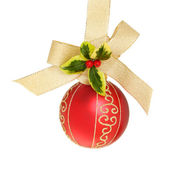 Red ball holly and bow — Stock Photo