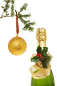 Chapagne and gold ball — Stock Photo
