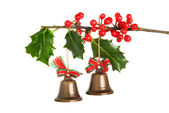 Christmas bells and holly — Stock Photo