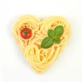 Heart shaped spaghetti — Stock Photo
