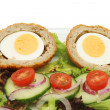 Scotch egg salad closeup — Stock Photo