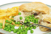 Chicken pie chips and peas — Stock Photo