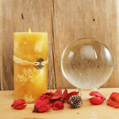 Crystal ball and candle — Stock Photo
