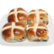 Stock Photo: Hot cross buns on plate