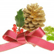 Yuletide foliage and bow — Stock Photo