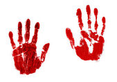 Pair of blood red handprints — Stock Photo