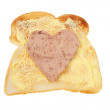 Toast with heart shaped pate - Stock Photo