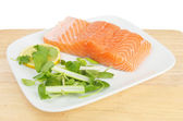 Salmon fillet and garnish — Stock Photo