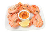 Shell on prawns with seafood sauce — Stockfoto