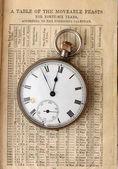 カレンダー上のアンティーク時計 — ストック写真