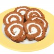 Chocolate swiss rolls — Stock Photo