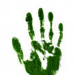 Green ink impression of left hand - Stockfoto