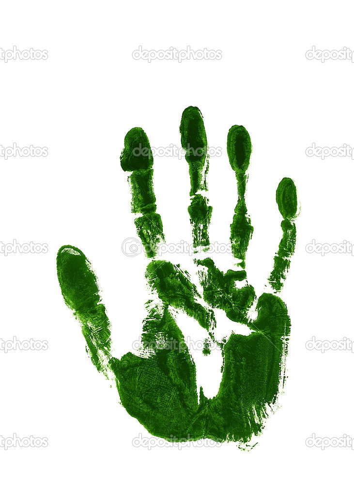 Green ink impression of a left hand — Stock Photo #18138119