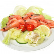 Prawns with salad — Stock Photo