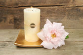 Feng Shui candle and rose — Stock Photo