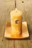 Yellow Feng Shui candle — 图库照片