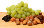 Fruit and nuts — Stock Photo