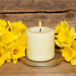 Candle and daffodils - Stock Photo