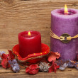 Red and purple candles — Zdjęcie stockowe