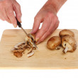 Chopping mushrooms — Stock Photo