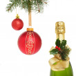 Champagne and baubles — Stock Photo
