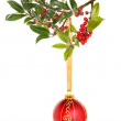 Bauble and holly — Stock Photo