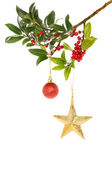 Holly gold star and bauble — Stock Photo