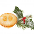 Mince pie and holly — Stock Photo #36577703