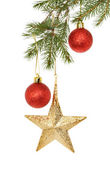 Baubles in a Christmas tree — Stock Photo