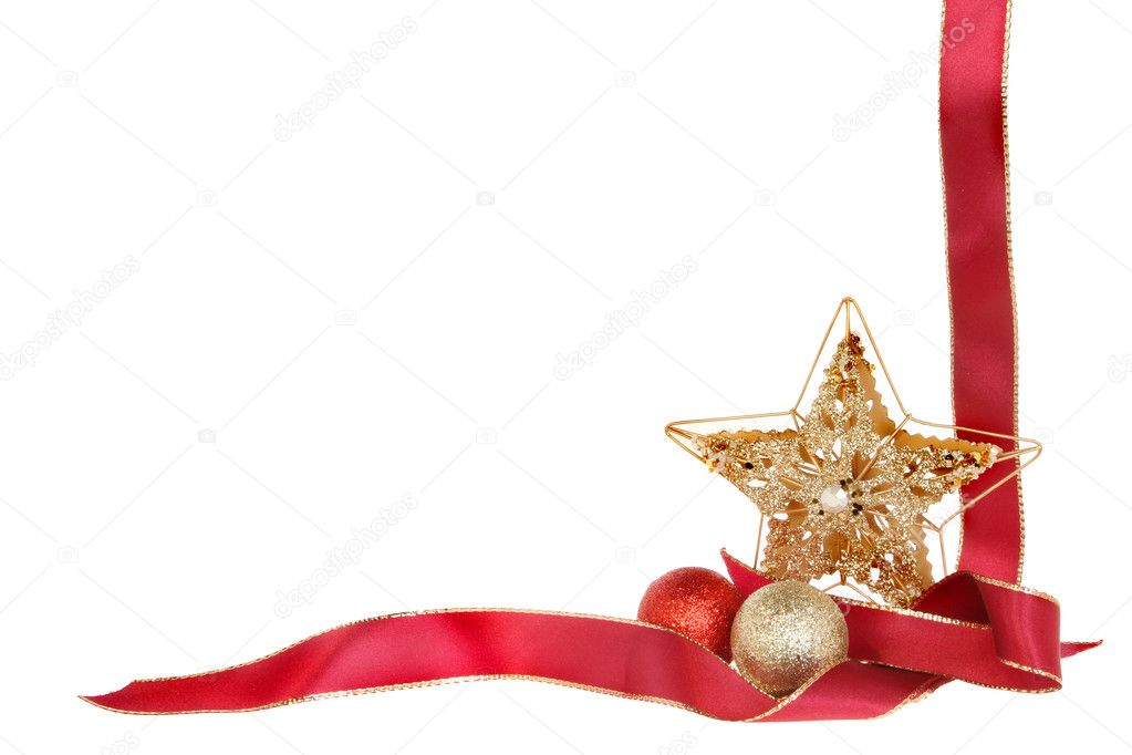 圣诞边框, 红丝带, 金色亮片明星和孤立反对白色的小玩意— photo by