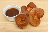 Yorkshires and gravy — Stock Photo