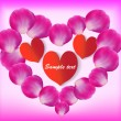 Royalty-Free Stock Vector Image: Heart of rose petals with text