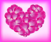 Corazón de pétalos de rosa — Vector de stock