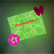 Greeting card on a green background — Vettoriali Stock