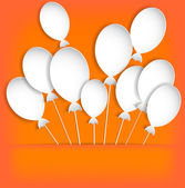 Balloons on the orange background. Paper — Stock Vector