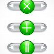 Stock Vector: Glass green buttons and arrows. Set.