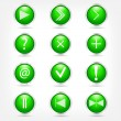 A set of green glass buttons with arrows and math signs. — Stock Vector