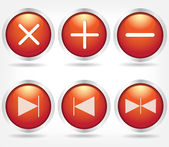 Set of red glass buttons — Stock Vector