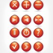A set of red glass buttons with arrows and math signs — Stock Vector