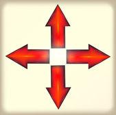 異なった方向の赤の矢印。プラスチック — ストックベクタ