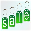 Stock Vector: Green signs made of paper. SALE