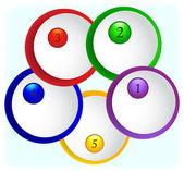 Kağıt yuvarlak renkli arka plan üzerinde numaraları ile simgeler — Stok Vektör