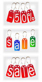 Rode en multi-gekleurde tekenen gemaakt van papier. instellen — Stockvector