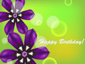 Birthday card with purple flowers — Stock Vector