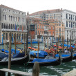 Covered Gondolas line Grand Canal on Winter's Day — Stock Photo #15365215
